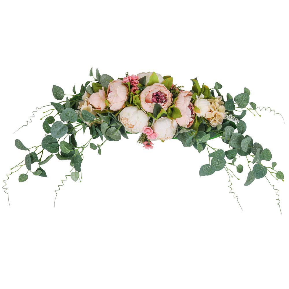 "HiiARug Artificial Peony Flower Swag, 31 Inch Decorative Swag with Fake Peonies Hydrangeas Eucalyptus Leaves for Home Room Garden Lintel Wedding Arch Party Decor (Pink, 31"") 610L6Gl2uzL"
