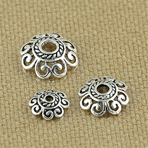 Luoyi Tibetan Style Hollow Flower Bead Caps, Sterling Silver Jewelry Findings (H001T) (Thai Sterling Silver Flower)
