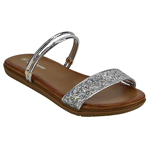 98aa1a259c6e24 Image Unavailable. Image not available for. Color  FOREVER FQ48 Women s  Glitter Straps Flat Heel Sandals