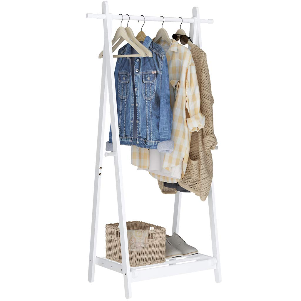 LANGRIA Foldable Bamboo Clothes Laundry Rack with Vertical Hanging Rod Two Side Hooks and Lower Shoe Shelf for Extra Storage Space A-Frame Design Garment Stand (White)