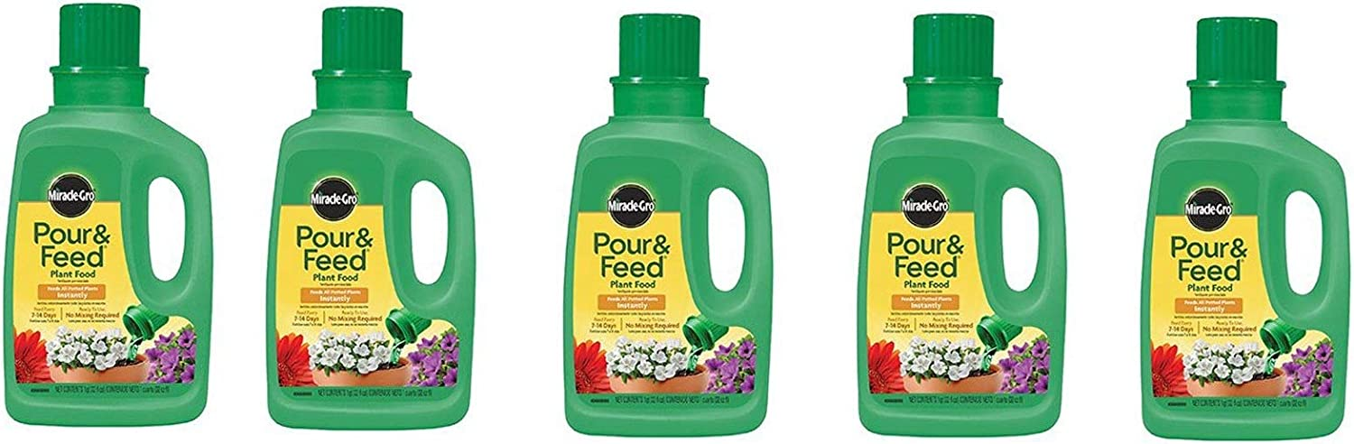 Miracle-Gro Pour and Feed Liquid Plant Food, 32-Ounce (Plant Fertilizer), 5 Pack