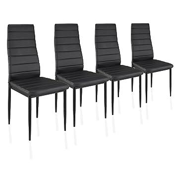 4 Stück Schwarze Esszimmerstühle, Küchenstühle Mit Hochwertigem  Kunstlederpolster