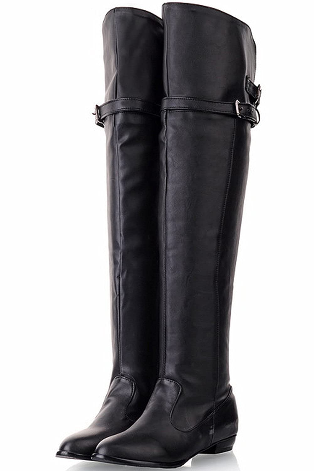 BIGTREE Over The Knee Boots Women Fall Winter Comfortable Buckle Flat Thigh High Boots