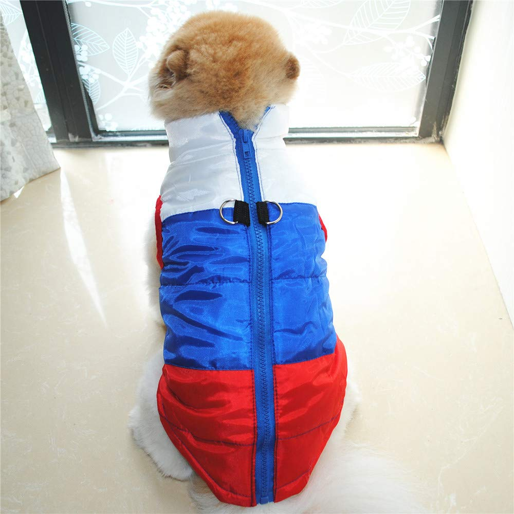 Cat Dog Patchwork Coat Jacket Pet Supplies Clothes Winter Apparel Puppy Costume Thickened Wave Cotton-Padded Warm Jacket Puppy Sweatshirt Cat Sweater Dog Outfits Puppy Shirt (Red, XL) by succeedtop (Image #2)