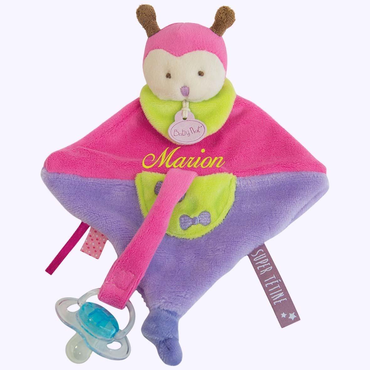 Doudou Coccinelle attache porte tétine à broder avec prénom- cadeau liste de naissance - cadeau personnalisé naissance - cadeau personnalisé bébé