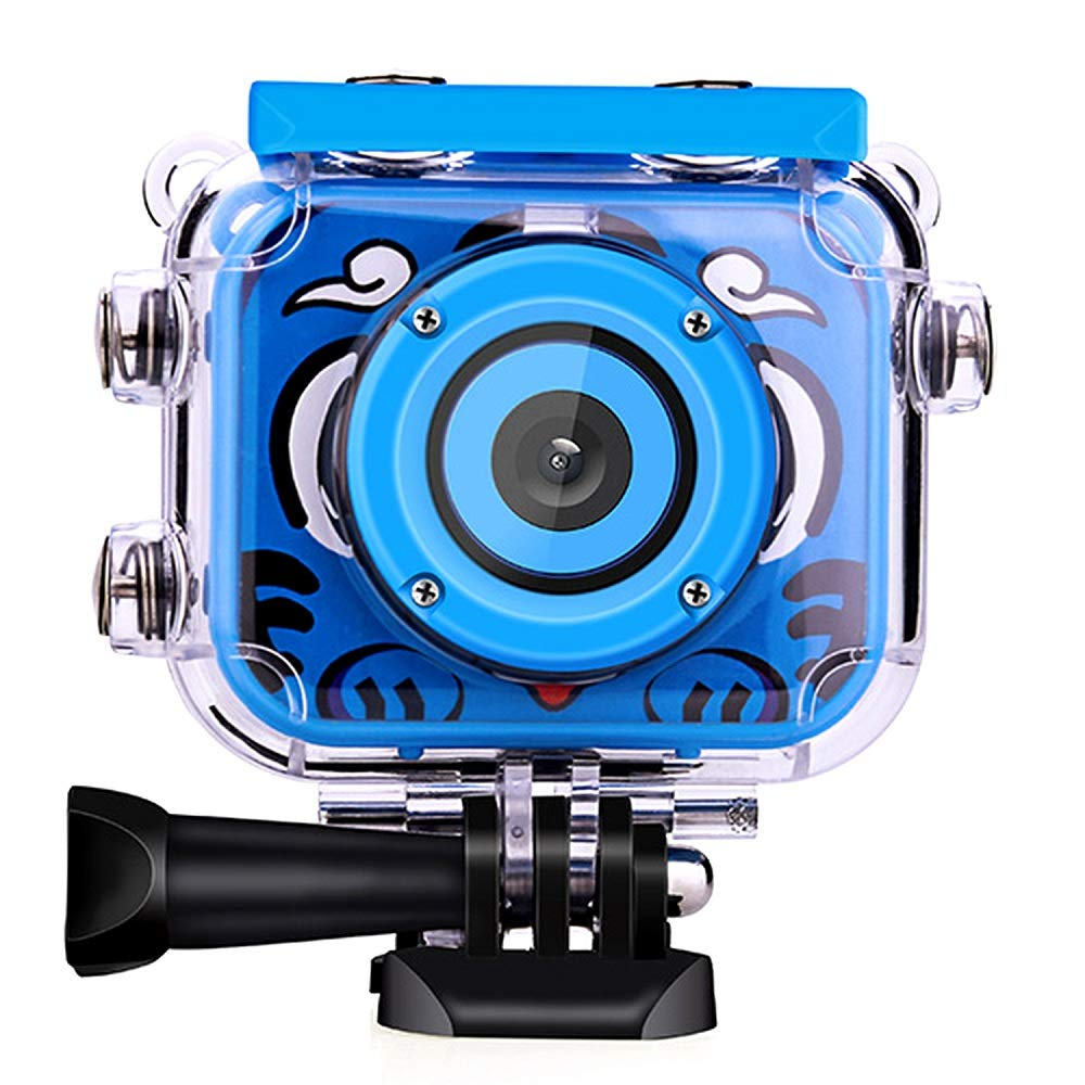 Posiveek Children Kids Camera Waterproof 100FT HD Action Camera 1080P 12MP Sports Camera Camcorder 2 inch LCD Screen (Blue)