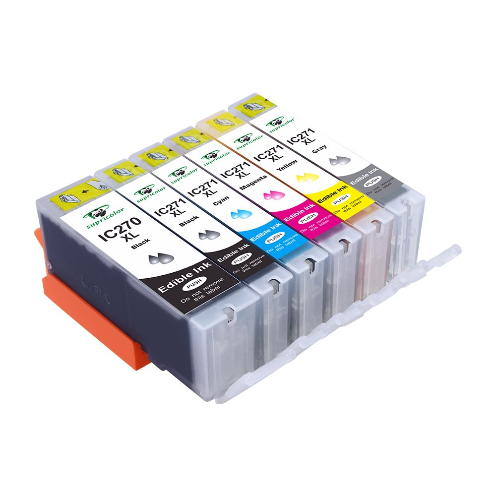 Supricolor 6 Pack Edible Ink Cartridge Replacement for PGI-270XL PGI 270 CLI-271XL CLI 271 Compatible with PIXMA MG7720