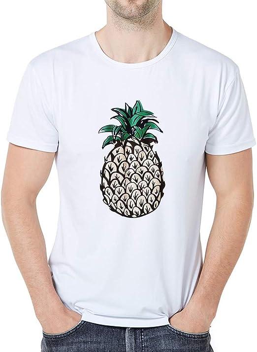 Weant - Camiseta Sencilla de Hombre para el Verano, Informal, para Hombre, Divertida, de Moda, piña, impresión Creativa, Gargantilla, Casual, Camisa B L: Amazon.es: Hogar