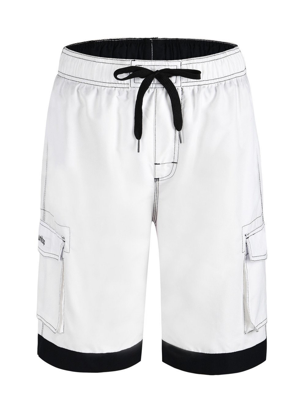 Unitop Men's Summer Holidays Casual Quick Dry Beach Board Shorts White&Black 30