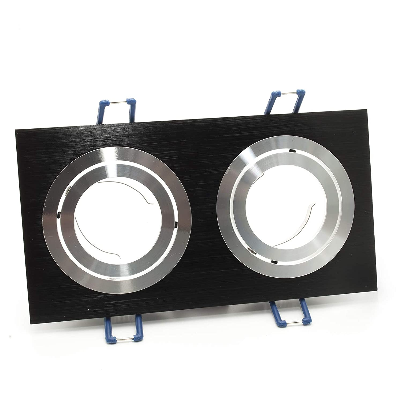 Spot double lampe LED 16 W orientable encastrable rectangulaire GU10 220 V IP20 Bianco naturale Noir
