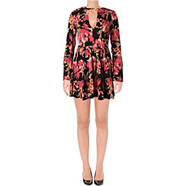 3687b58b8c495 Free People Womens Printed Cutout Casual Dress Black 4 at Amazon ...