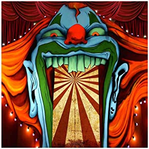 Funnytree 6x6ft Horror Circus Theme Halloween Backdrop for Photography Giant Evil Clown Hallomas Birthday Party Background Scary Grove Vampire Baby Cake Table Decor Banner Photobooth Studio Props