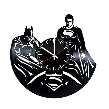 Superhéroes de Superman y Batman reloj de pared de disco de vinilo – Get único dormitorio