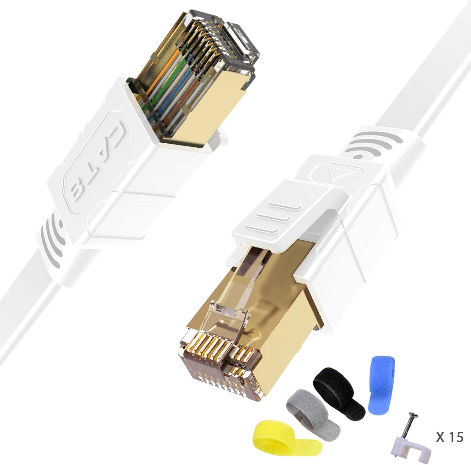 Cat8 10 Feet Shielded Ethernet Cable Router 26AWG Cat8 Network Cable 2 Pack Modem Network Cable Xbox Weatherproof 40Gbps 2000Mhz S//FTP LAN Cables for Gaming Gold Plated RJ45 Connectors PC