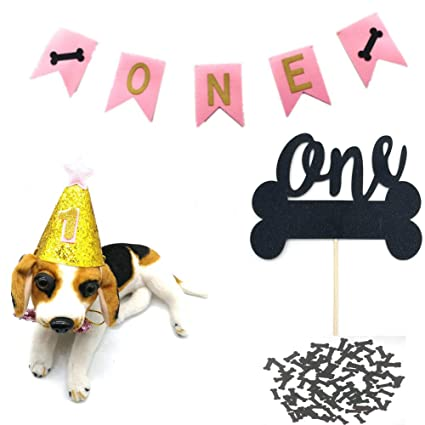 HEMARTY Dog One Birthday Party Supplies Banner With Cute Doggie Hat Black