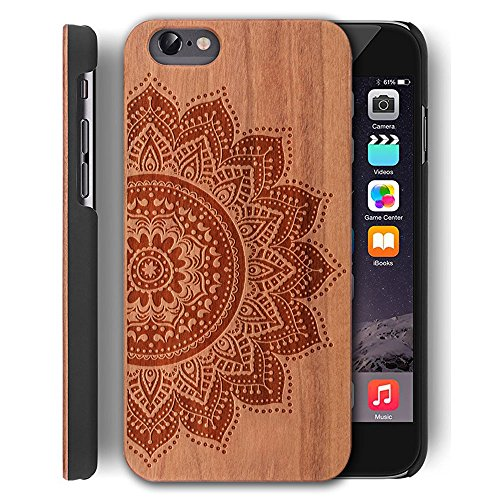 Wood Case for iPhone 5/5S/SE Case,YUANQIAN Slim Pure Handcrafted Wooden Case [Eco-Friendly] [Scrapes-proof Scratches-proof & Dust-proof] for Apple iPhone 5/5S/SE [4.0 inch](flower) (Iphone 5s Case Elephant Wood)
