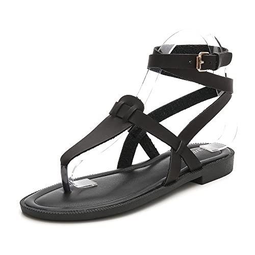 5c1634196 Wollanlily Women Summer Ankle Strap Gladiator Strappy Flat Sandals Roman  Thong Beach Sandals Black US 5.5