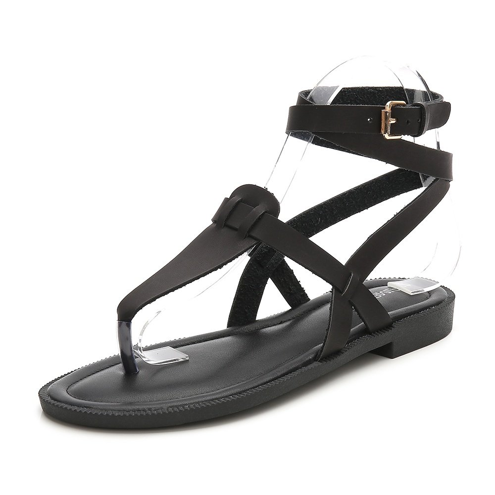 Wollanlily Women Summer Ankle Strap Gladiator Strappy Flat Sandals Roman Thong Beach Sandals Black US 9