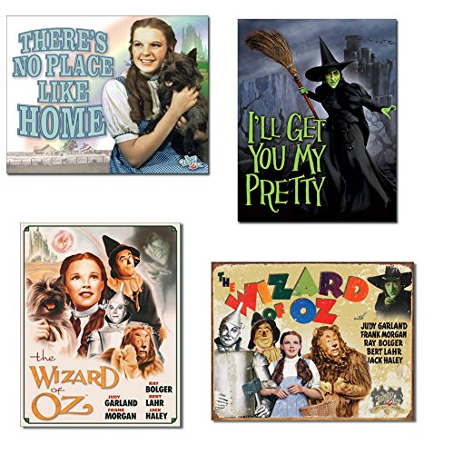 Wizard of Oz Tin Sign Bundle - There's No Place Like Home, I'll Get You My Pretty (Wicked Witch), Poster Illustrated of Cast and 70th ()