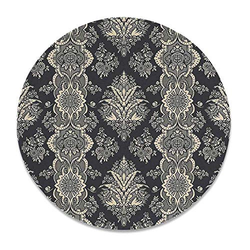 YOLIYANA Damask Round Ceramic Decorative Plate,Victorian Style Baroque Classic Pattern with Ornamental Floral Leaves Image for Table Or Wall,7 inch