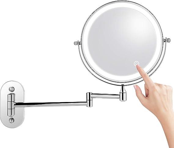 8 inch Kosmetikspiegel LED Beleuchtet 7x Fach Schminkspiegel Rasierspiegel Touch