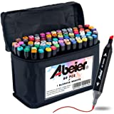 Abeier 80 Colors Alcohol Based Dual Tip Art Markers, Plus 1 Colorless Marker Blender with Marker Case, Permanent Sketch Marke