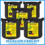 10 gal garden pots - BUBBLEBAGDUDE Grow Bags 5-Pack Breathable Fabric Containers Round Aeration Growing Garden Hydropnic Pot with Sturdy Handles, Color Black (5 Pack) - 10 Gallons)