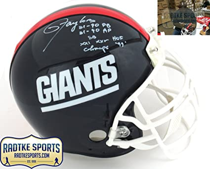 4e03d825e Lawrence Taylor Autographed Signed New York Giants Riddell Authentic NFL  Helmet With Career Stats Inscription
