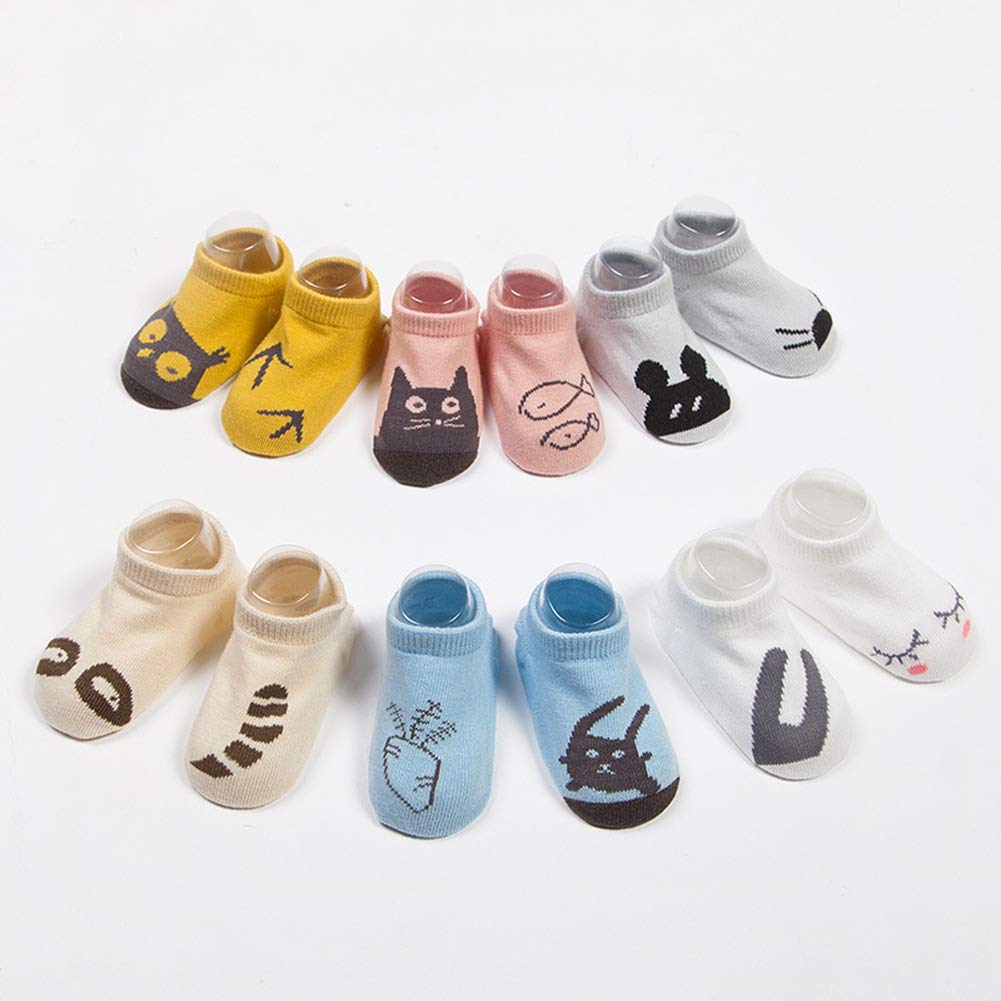 Best Gift for Baby 6 Packs Baby Boys Girls Fashion Cotton Crew Seamless Socks Cartoon Animals Patterns 0-30 Months