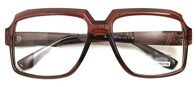 0e4ac3c45e8 Oversized Square Thick Horn Rimmed Eyeglasses Vintage Inspired Geek Clear  Lens (BROWN 8908