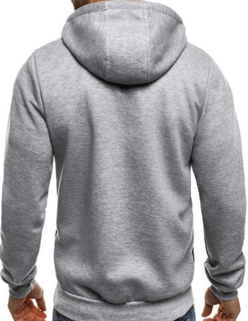GAGA Men Hood Lightweight Long Sleeve Full Zip Sweatshirt with Zipper Pocket