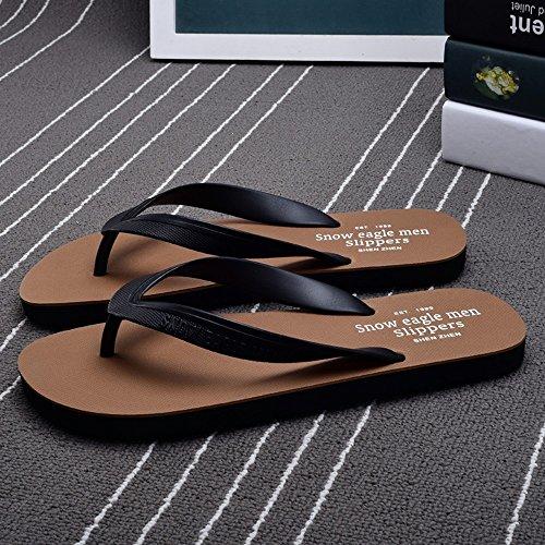 FEI Chanclas Zapatillas Inferiores Suaves Del Verano De Los Hombres Zapatillas Antideslizantes De Los Zapatos De La Playa Zapatillas De Verano Negro Azul Marrón Rojo ArmyGreen Antidérapant ( Color : R Marrón