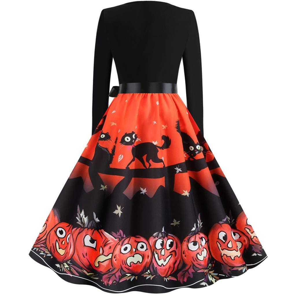 Women Fashion Halloween Dress,Women Evening Party Dress Vintage Prom Dress Pumpkin Ghost Print Skirt Orange by LINYIOU77