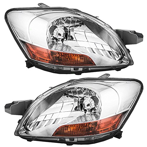 (Headlights Headlamps Driver and Passenger Replacements for 07-11 Toyota Yaris Sedan 81170-52740 81130-52750)