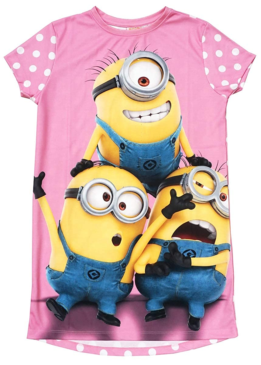 Despicable Me Girls Minions Polka Spot Nightdress Pink Nightie Sizes from 7 to 13 Years