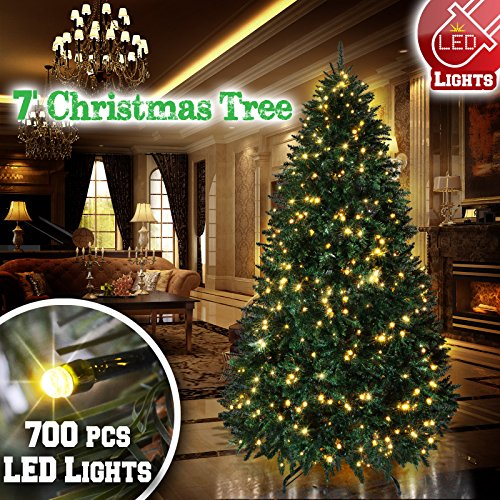 (BenefitUSA 7' Artificial Christmas Tree with Metal Stand Full Tree Xmas Holiday with 700 Clear Lights and 2154 Tips)
