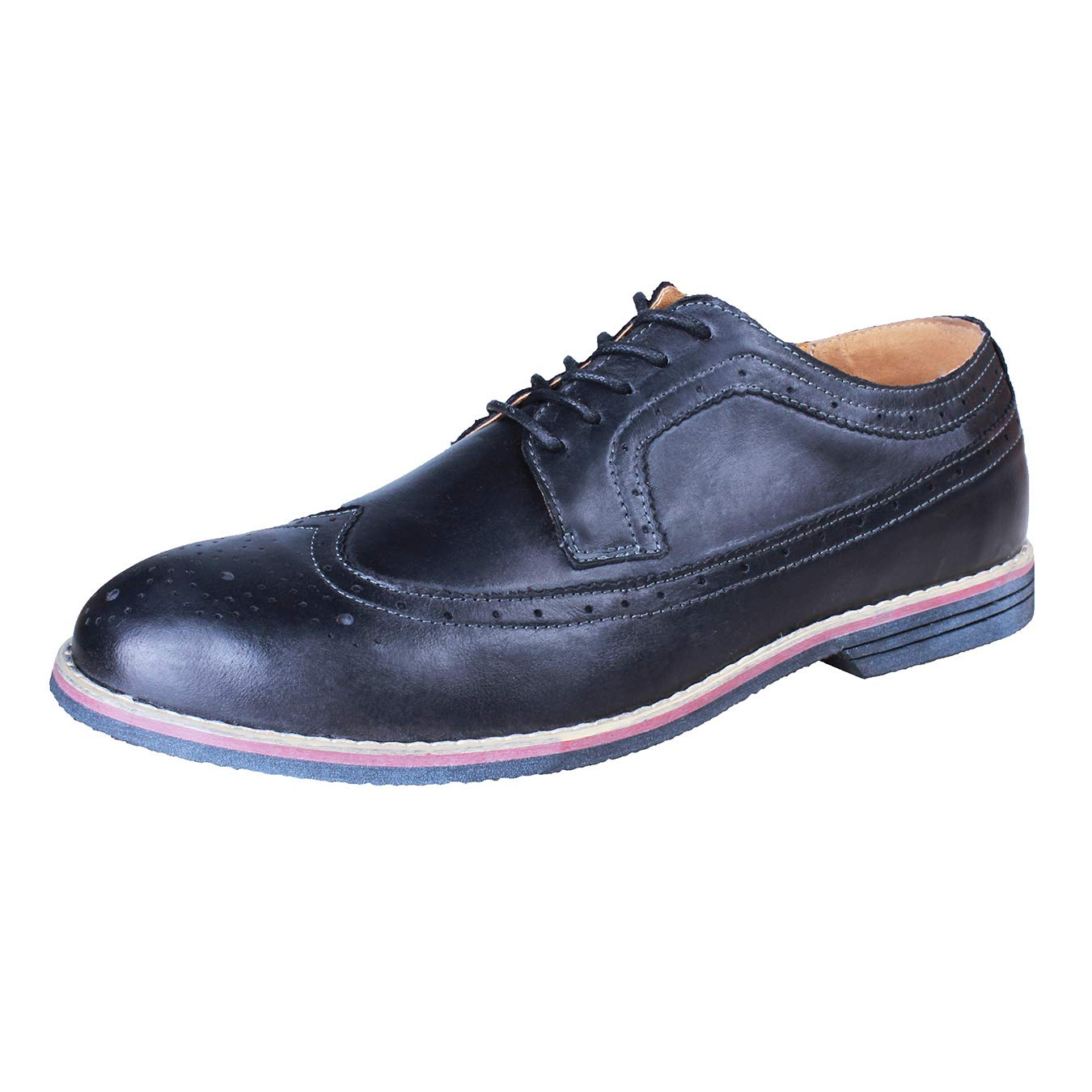 PhiFA Men's Leather Classic Oxford Dress Shoes Lace-up US Size 10 Black