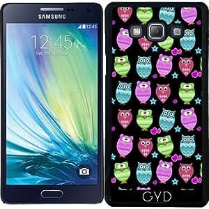 Funda para Samsung Galaxy A7 (SM-A700) - Búhos Enrrollados, Fondo Negro by Ancello