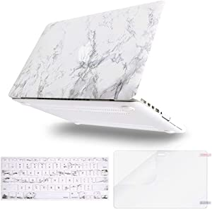 MOSISO MacBook Pro 15 inch Case (Model: A1398, 2015 - end 2012 Release), Plastic Hard Shell & Keyboard Cover & Screen Protector Compatible with Older Version MacBook Pro Retina 15 inch, White Marble