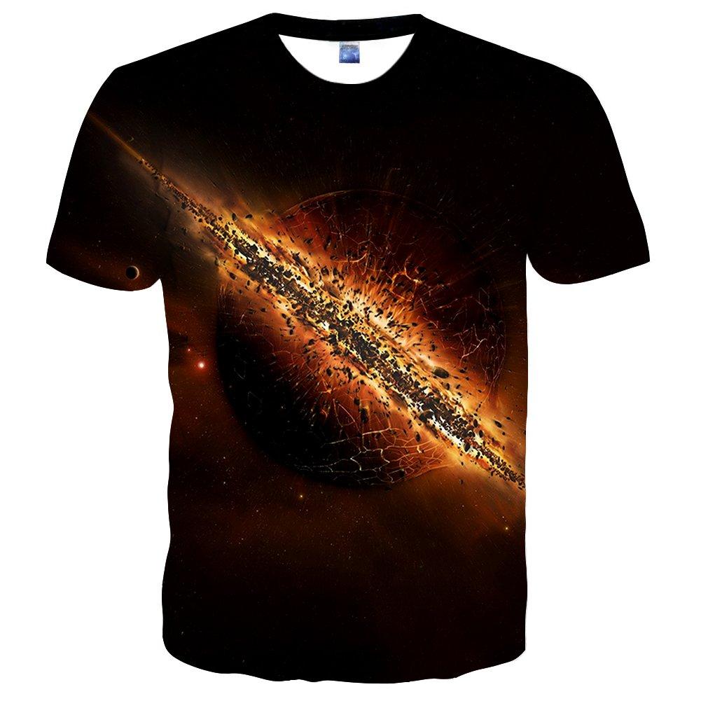 Syaimn Unisex 3D Pattern Print Kurzarm T-Shirts Beiläufige Grafik T-Shirts