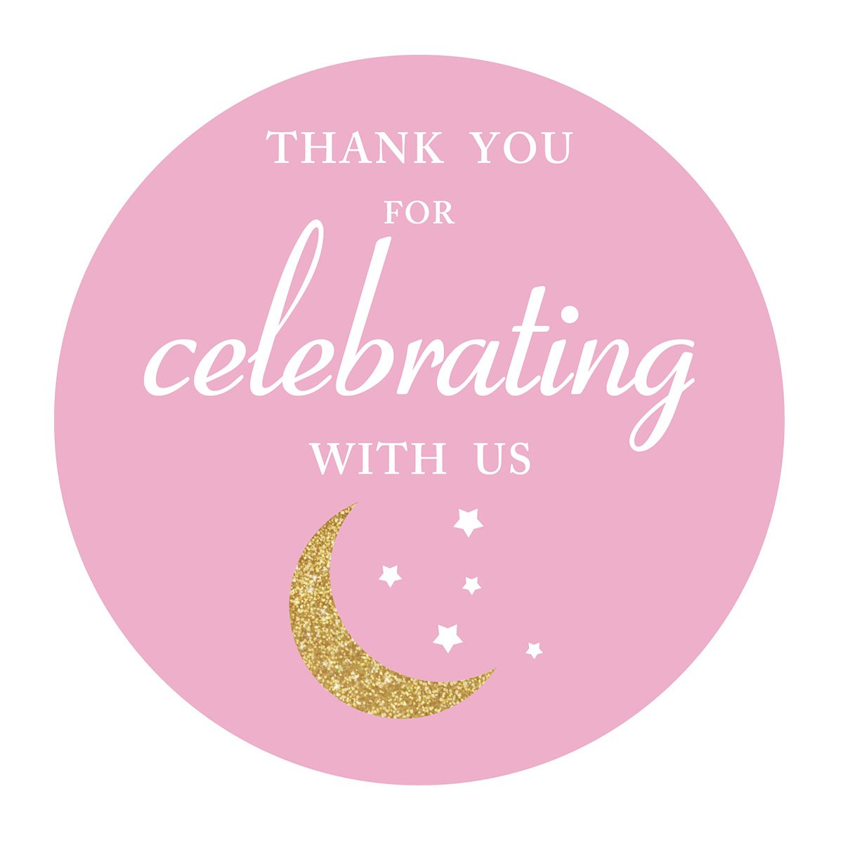 Pink thank you I love you to the moon and back stickers, girl baby shower or birthday party favors sticker labels, 2 inch, 40-Pack