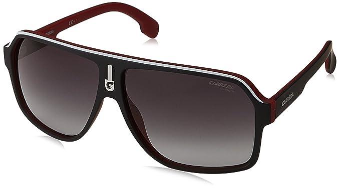 d09d311584 Carrera Men s Ca1001s Aviator Sunglasses MATTE BLACK RED DARK GRAY GRADIET  62 mm