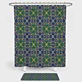 iPrint Arabian Decor Shower Curtain And Floor Mat Combination Set Ornate Arabic Ethnic Mosaic Oriental Eastern Patterns with Damask Tribal Art For decoration and daily use Yellow Green Teal