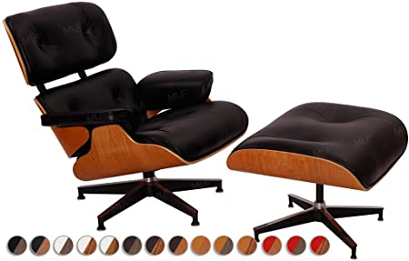 MLF 100% Reproduction Eames Lounge Chair U0026 Ottoman In Premium Top  Leather(Black,