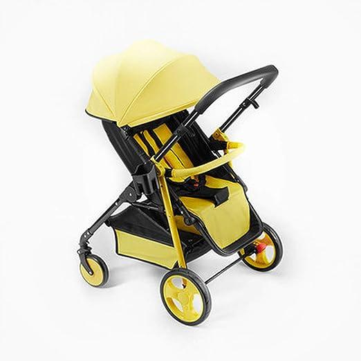 Opinión sobre LYH Sentarse Puede del, Acostarse Y Plegar, con El Toldo, De Dos Vías, Cochecito Transpirable, Paraguas Bebé (Two-Way-Yellow)