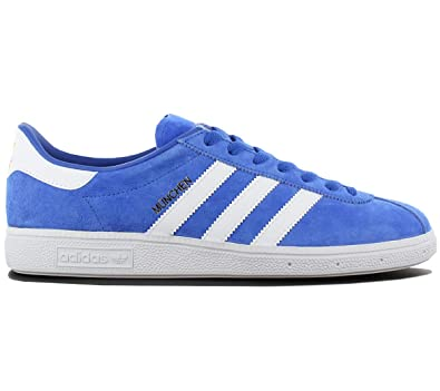 meet f95e3 410f9 adidas Originals München Leather Herren Schuhe Blau Leder Sneaker Retro  Fashion Turnschuhe
