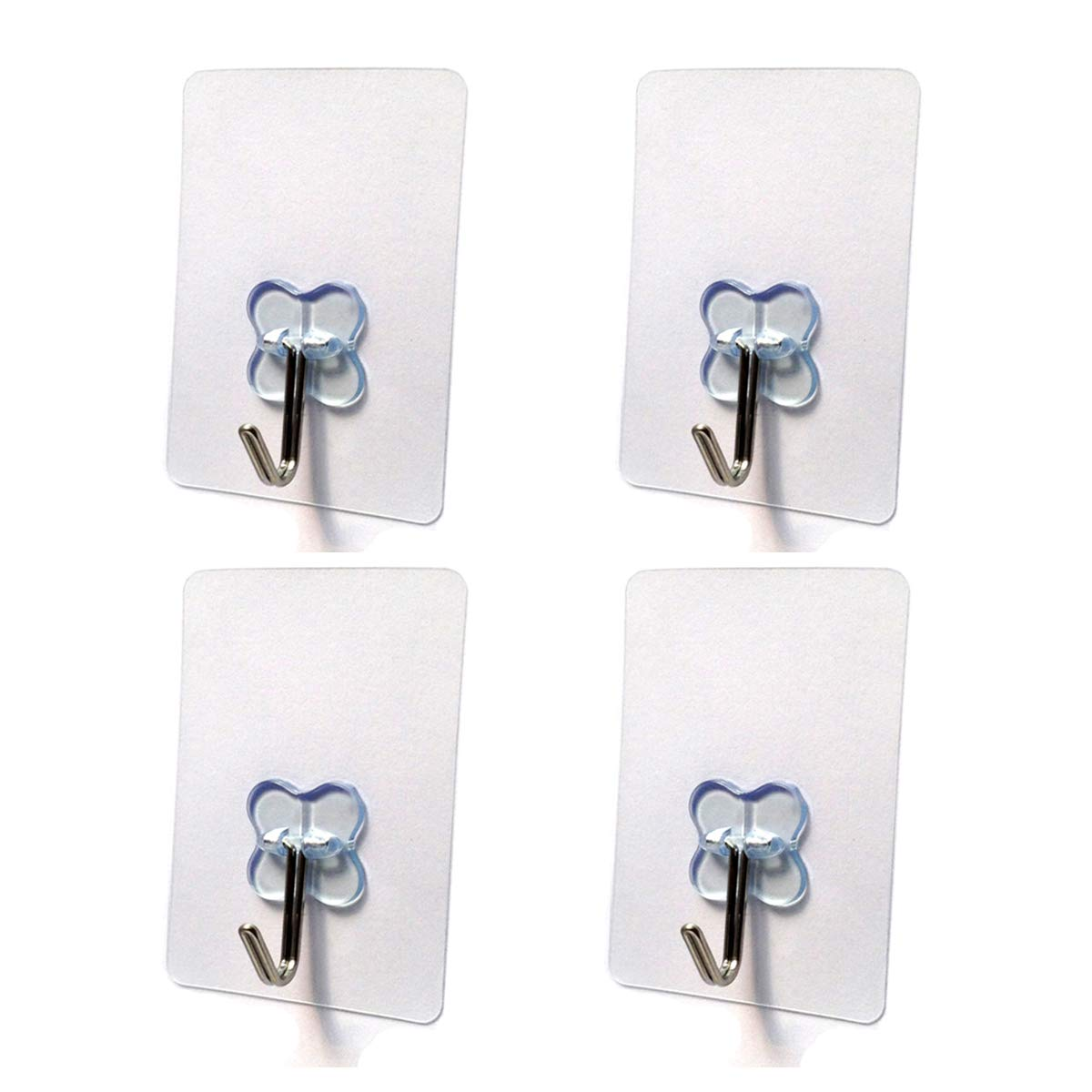 Nicedec 4 Pack 17.6 Pounds Max Heavy Duty Hooks Pack Nail Free Transparent Ceiling Hook for Home and Office No Surface Damage Wall Hooks Waterproof and Oilproof Not Recommended for Painted Wall