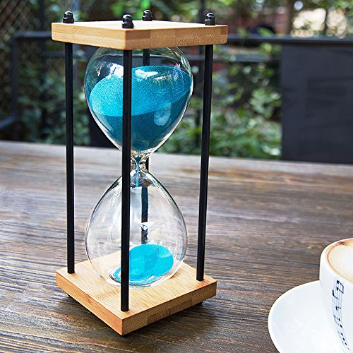 Hourglass Large (Bellaware Large Hourglass Timer, 30 Minutes Wooden Sandglass, Blue Sand Timer)
