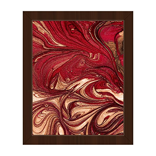 Garnet and Gold (Non-Metallic) Abstract Marbled French Book Endpaper Swirls in Red Burgundy Maroon Brown Beige Wall Art Print on Canvas with Espresso Frame Burgundy Gold Art Print