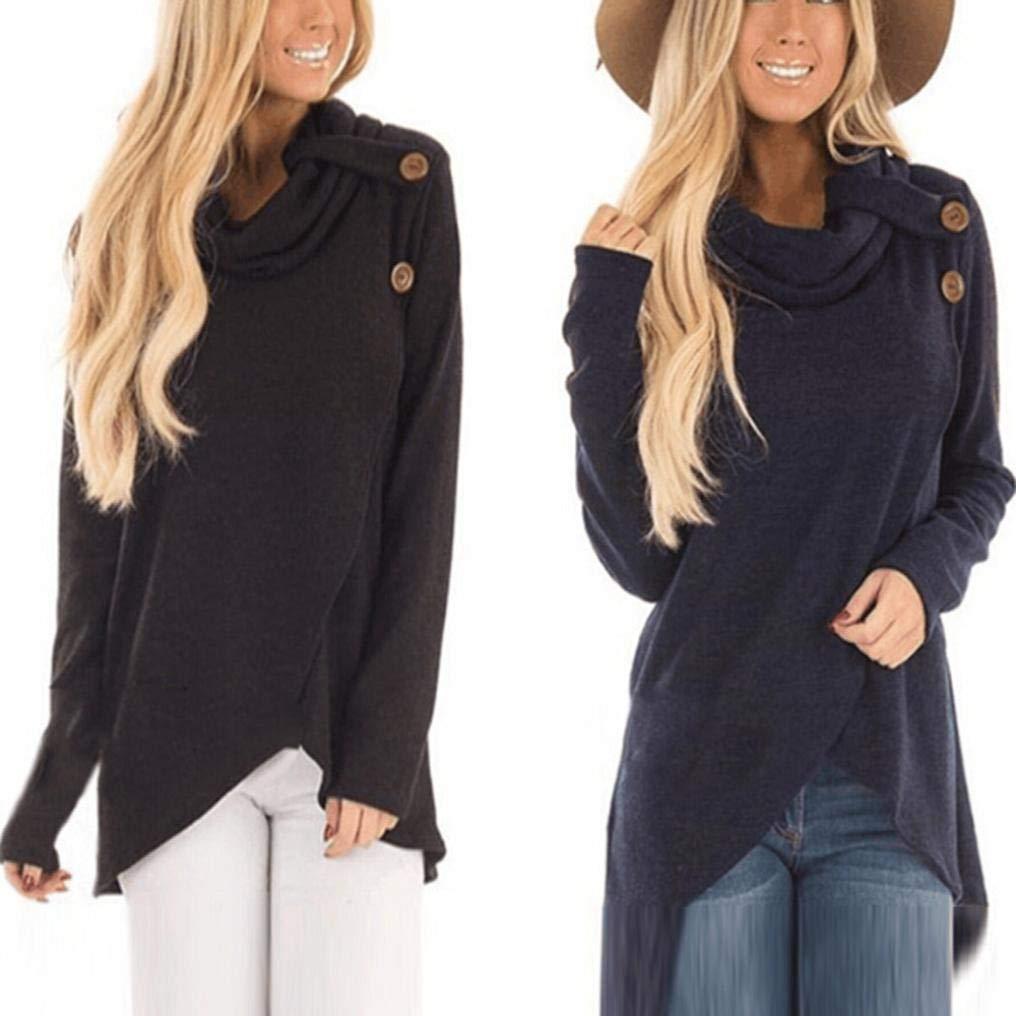 Pervobs Women Autumn Long Sleeve Turtleneck Sweatshirt Loose Casual Pullover Top